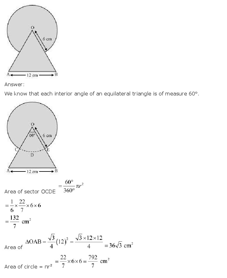 NCERT Solutions for Class 10th Maths: Chapter 12   Areas related to Circles Image by AglaSem