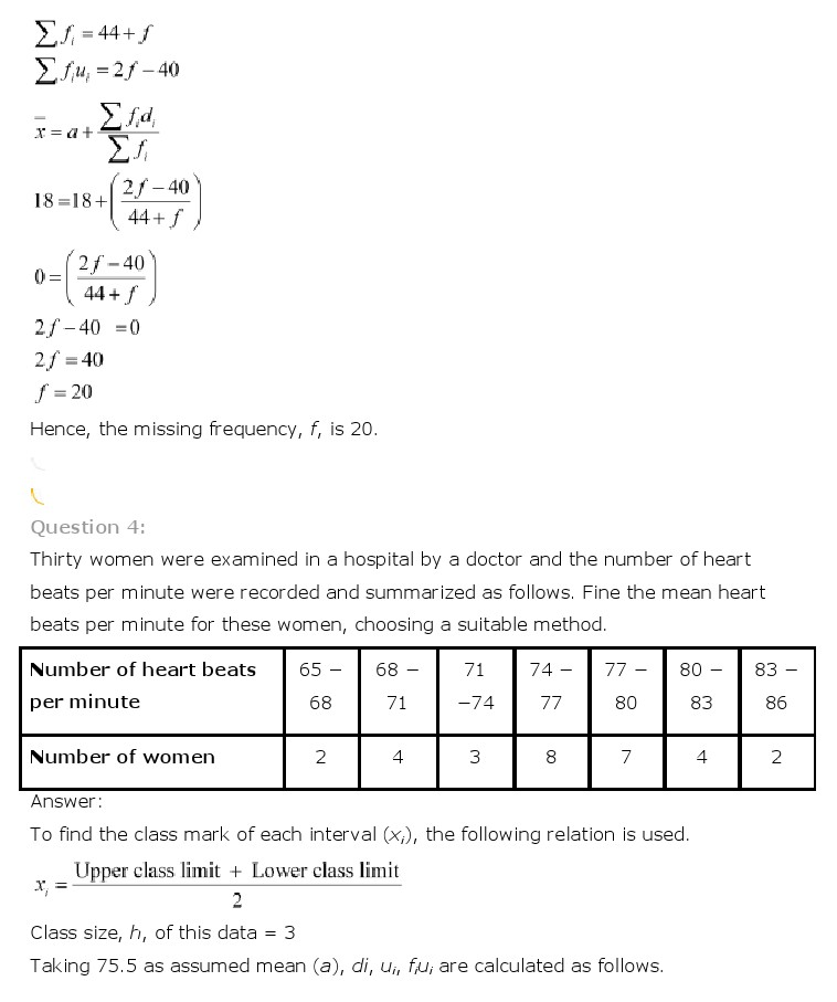 NCERT Solutions for Class 10th Maths Chapter 14 - Statistics