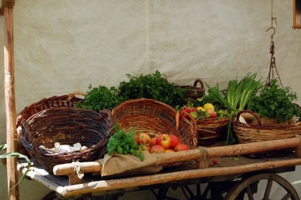 Fruit and vegetable cart at Burgfest