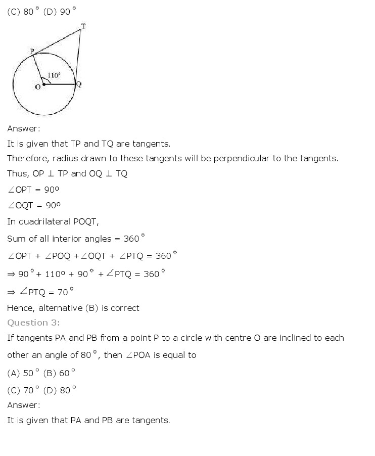 NCERT Solutions for Class 10th Maths: Chapter 10   Circles Image by AglaSem