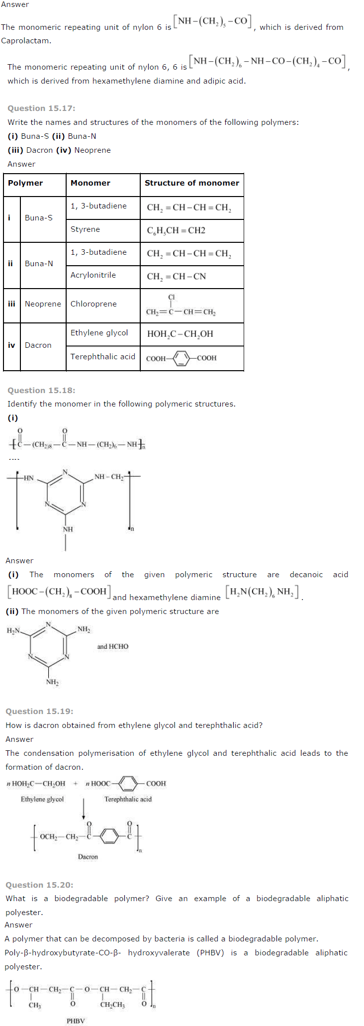 NCERT Solutions for Class 12th Chemistry Chapter 15 Polymers