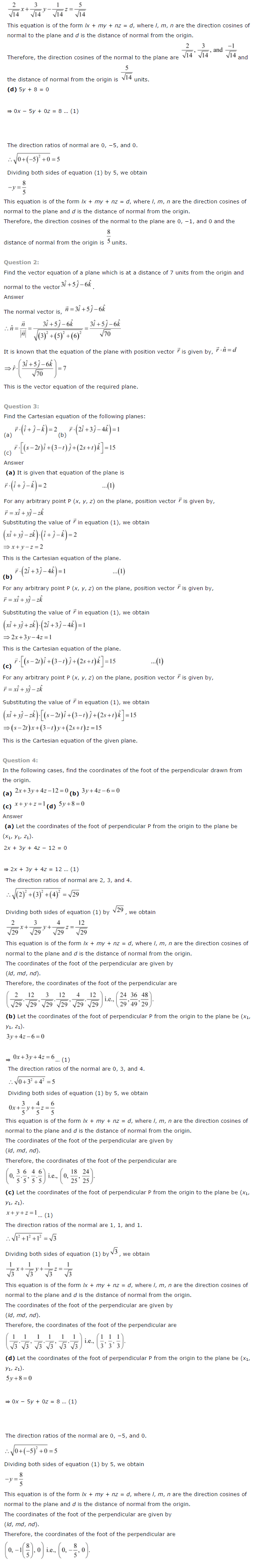 NCERT Solutions for Class 12th Maths Chapter 11   Three Dimensional Geometry Image by AglaSem