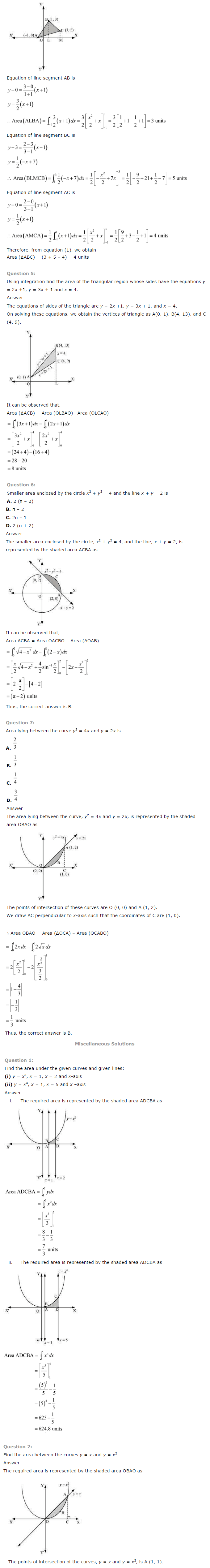 NCERT Solutions for Class 12th Maths Chapter 8   Application of Integrals Image by AglaSem