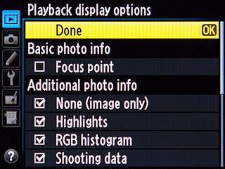 Nikon D600 menu playback display histogram