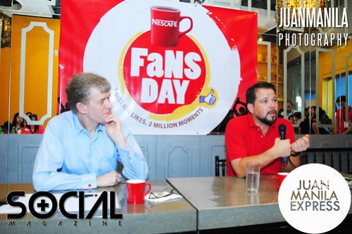 Chris Stern, Business Executive Manager, Nescafé Philippines (right) and his boss John (left), during the Fans Day press conference.
