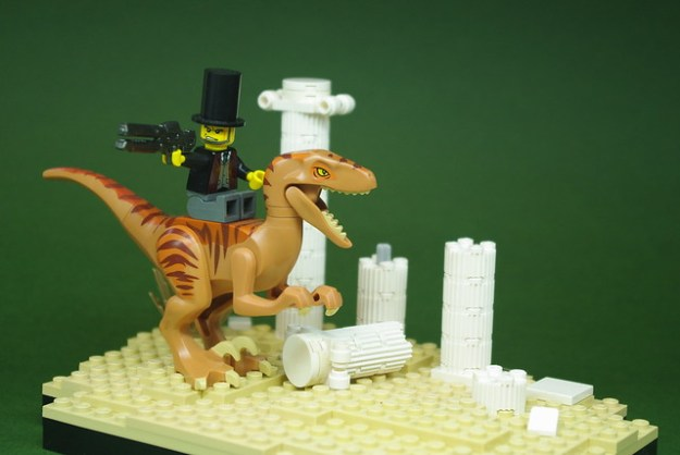 Abraham Lincoln on a Velociraptor