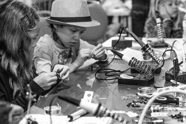 Piper & Kaia making Digital Dominoes
