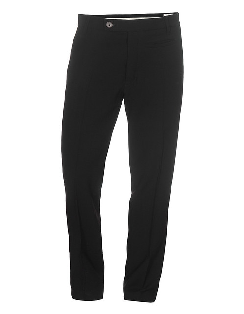 RICK OWENS CLASSICAL BLACK STRAIGHT LEG WOOL BLEND PANTS