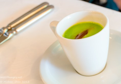 Tetsuya's - chilled pea soup w/dark chocolate mousse