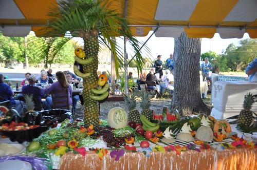 Fruit Art - See the Monkeys? Peace River Seafood's 10th Anniversary Party, Punta Gorda, Fla., Feb. 2, 2013