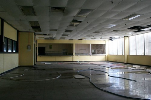 Factory cafeteria closed up and abandoned