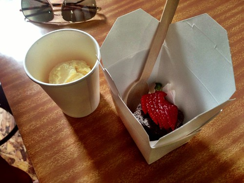 Take-away brownies & ice-cream