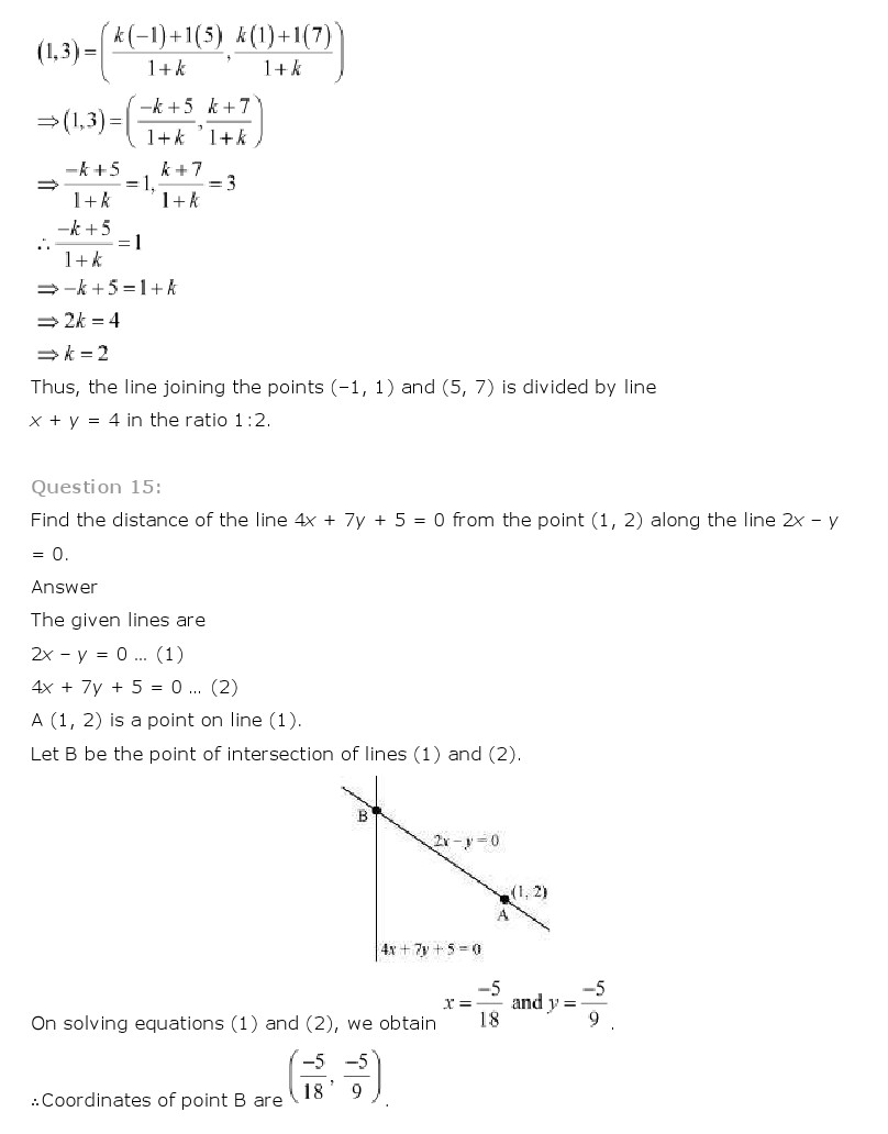NCERT Solutions for Class 11th Maths Chapter 10 - Straight Lines