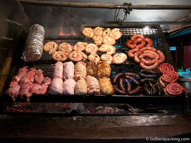 Meat on the grill at Mercado del Puerto