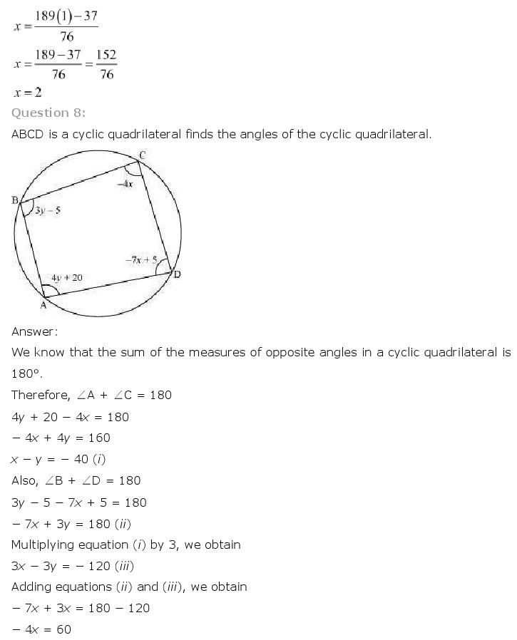 NCERT Solutions for Class 10th Maths: Chapter 3 – Pair of Linear Equations in Two Variables, CBSE NCERT Class X (10th) | Mathematics, NCERT CBSE Solved Question Answers, KEY NOTES, NCERT Revision Notes, Free NCERT Solutions Online