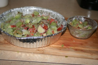 Sliced up rhubarb