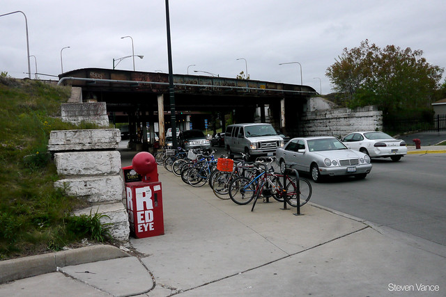 Existing bike parking at the Clybourn Metra station