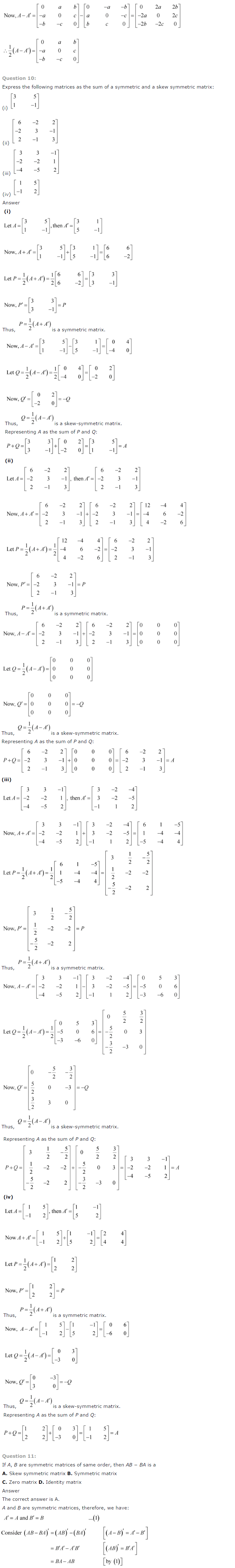 NCERT Solutions for Class 12th Maths Chapter 3   Matrices Image by AglaSem