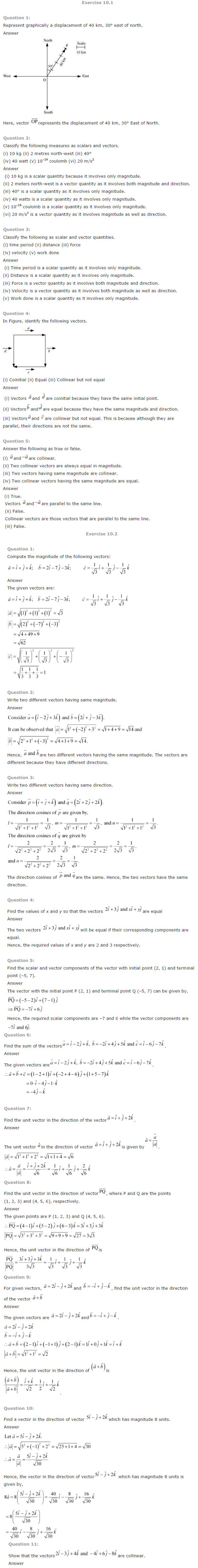 NCERT Solutions for Class 12th Maths Chapter 10   Vector Algebra