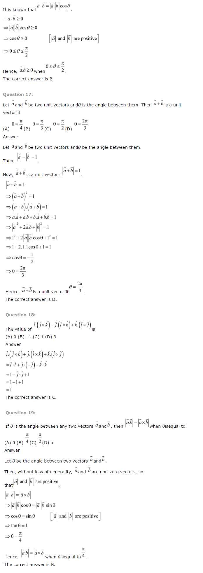 NCERT Solutions for Class 12th Maths Chapter 10   Vector Algebra Image by AglaSem