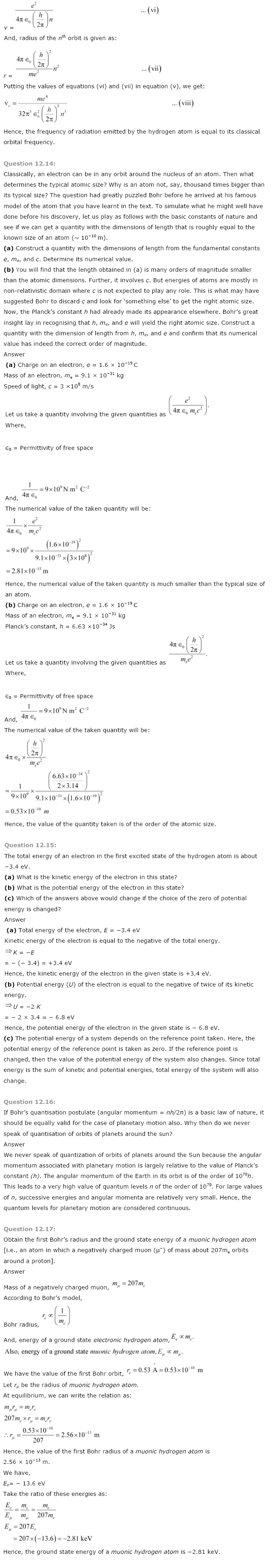 NCERT Solutions for Class 12th Physics Chapter 12   Atoms