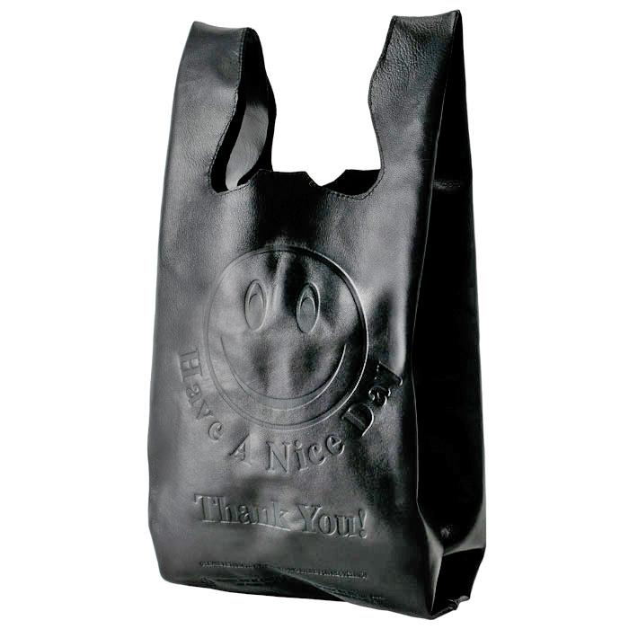 Black Leather Acid Smiley Tote Bag