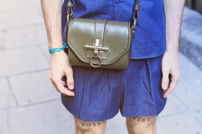 shirt and shorts both Davidelfin, bag Givenchy, sunglasses Acne and Prada brogues 4