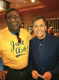 Reggie and Bob Costas at the JW Marriot Hotel in Houston.