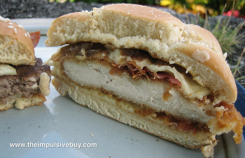 McDonald's Cheddar Bacon Onion Premium Chicken Sandwich Innards