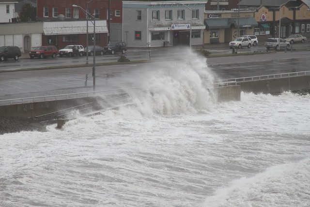 Waves crashing on Nantasket Beach in Hull, MA - Hurricane Sandy