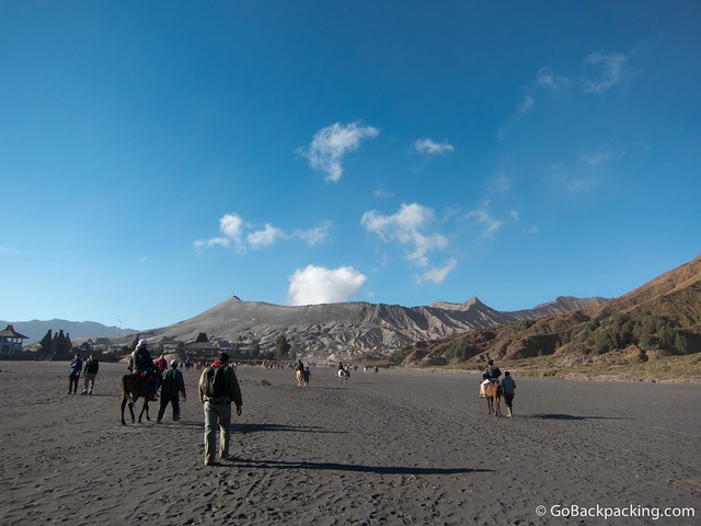 Walking toward Mount Bromo
