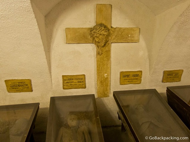 Inside one of the many rooms in the Capuchin Crypt