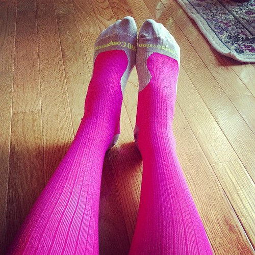 Trying out my new Pro Compression socks. Obviously love that they are bright pink! #fitfluential #keepittight
