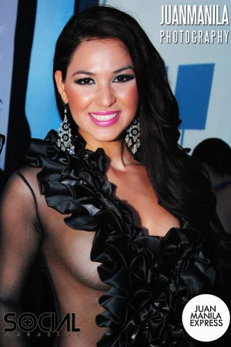 Rocio Castellanos of the Dominican Republic wearing a see-through black dress.