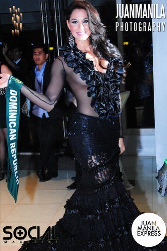 Rocio Castellanos from the Dominican Republic mesmerized the crowd with her see-through black evening gown.