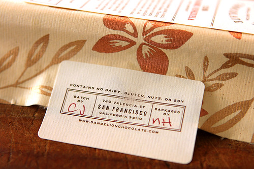 signed Dandelion chocolate