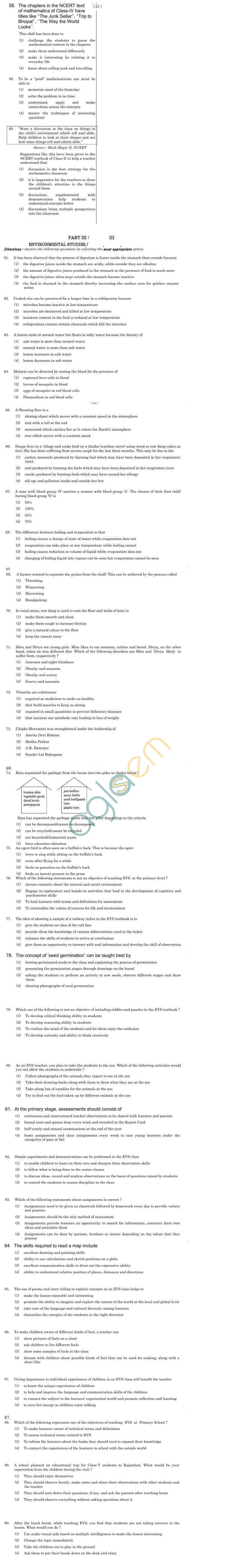 CTET June 2011 Question Papers - Paper 1