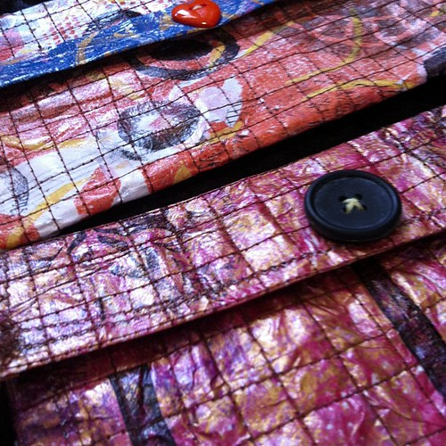 Gelli prints with handmade stencils + hand-carved rubber stamps + machine stitching + hand-stitched buttons = <3