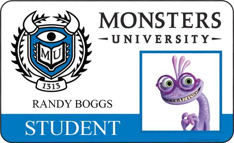 Monster University - Randy Boogs ID