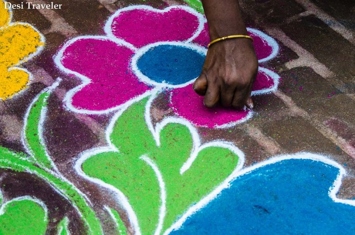 Making a Rangoli Design in India