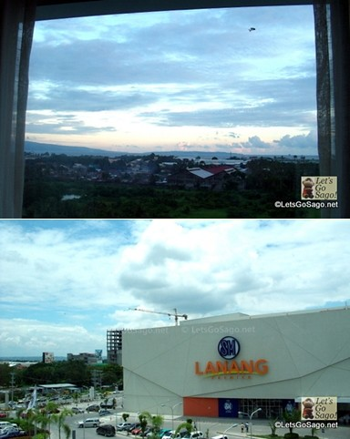 Room view of Samal Island from Rm.621(top); SM Lanang Premier view on the other side (bottom)