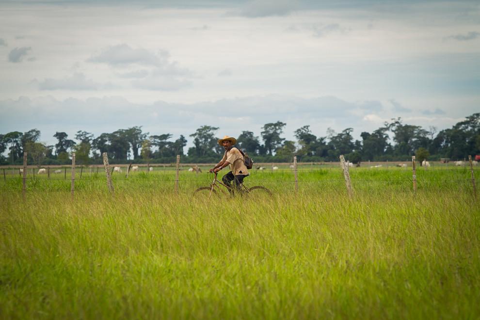 Un hombre se traslada en bicicleta luego de una larga jornada laboral en la localidad de Volendam. (Tetsu Espósito).