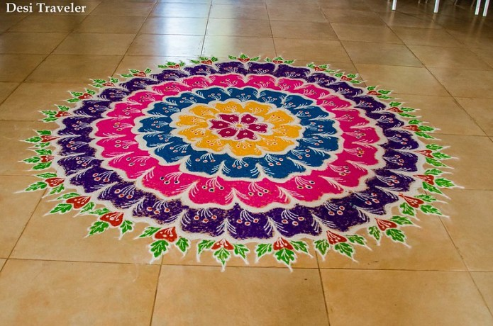 Making rangoli the traditional colorful designs of india