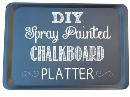 DIY Spray Painted Chalkboard Platter