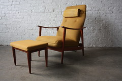 Charming Mid Century Scandinavian Modern Westnofa Lounge Chair Rocker with Ottoman (Norway, 1950's)