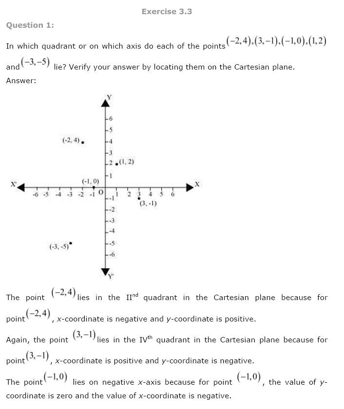 NCERT Solutions for Class 9th Maths Chapter 3 Coordinate Geometry