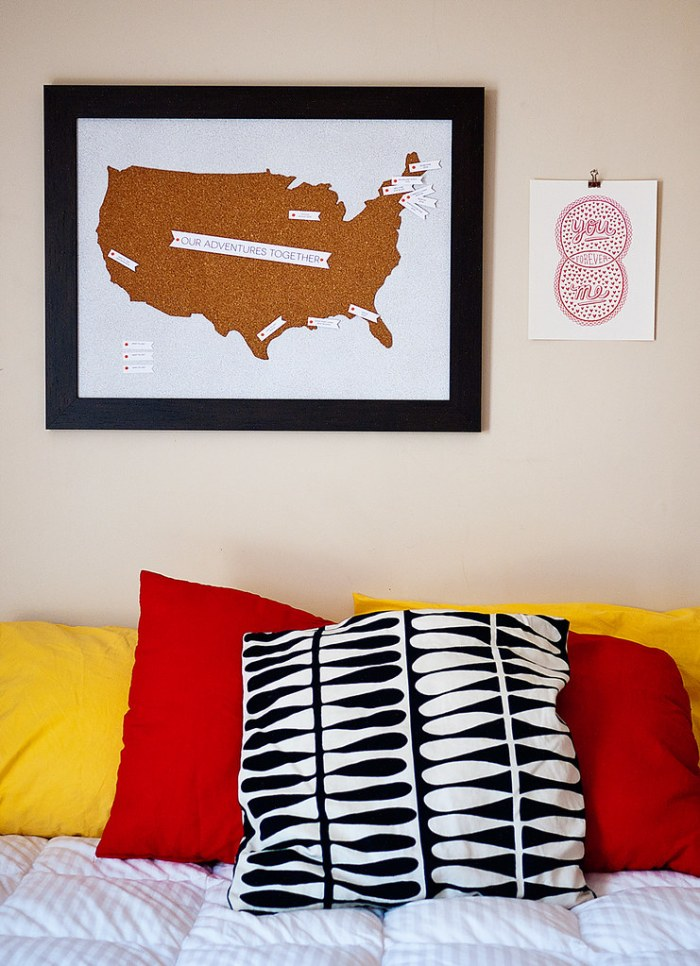 Travel Map Pin Board DIY 12