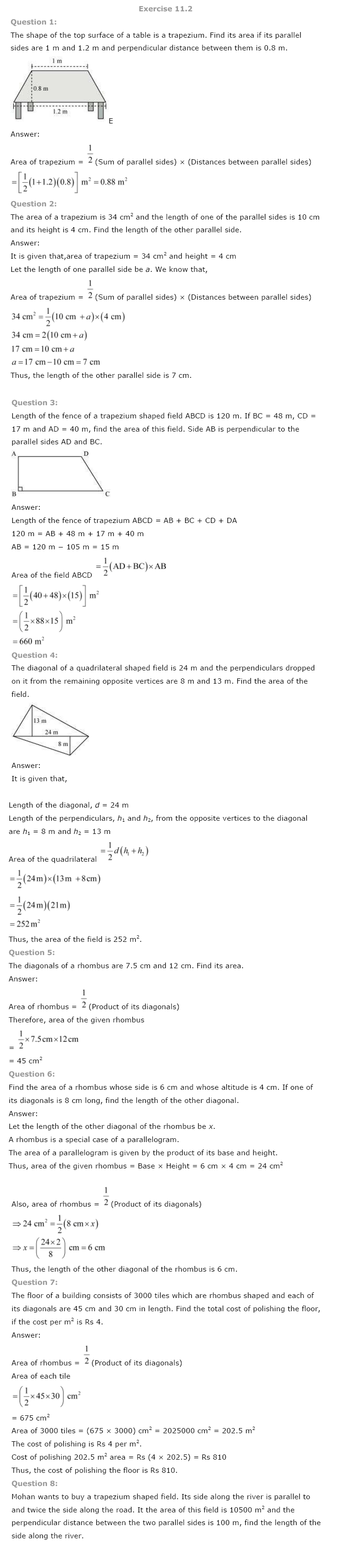 NCERT Solutions for Class 8th Maths Chapter 11 Mensuration Image by AglaSem