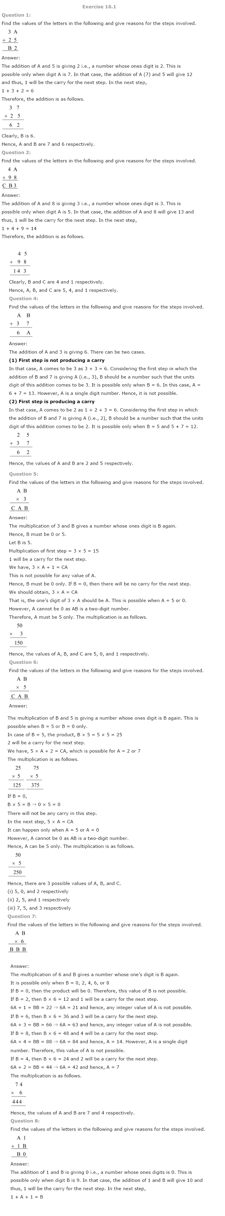 CBSE NCERT Class VIII (8th) | Mathematics, Playing with Numbers, CBSE NCERT Solved Question Answer, CBSE NCERT Book Solutions for Class 8.