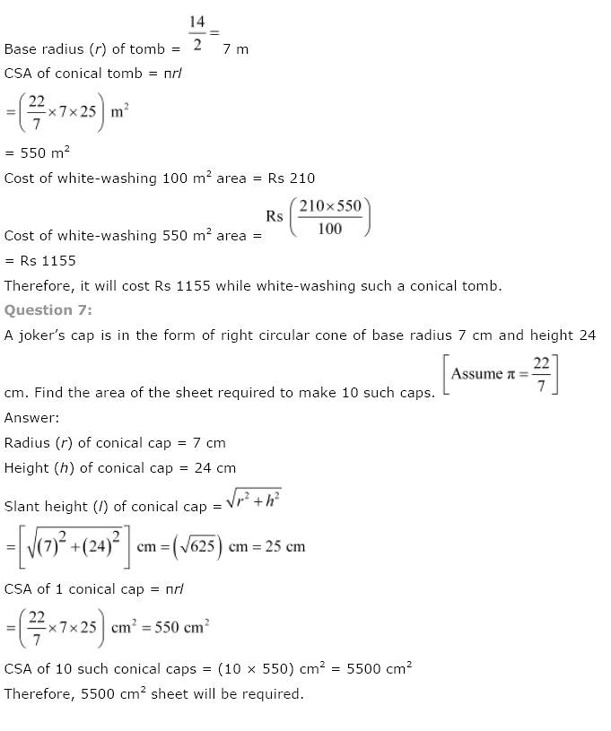 NCERT Solutions for Class 9th Maths: Chapter 13 Surface Areas and Volumes